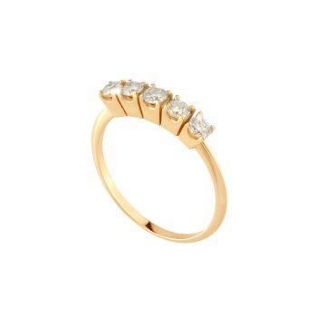Anello Carrè Riviera in oro 18kt e diamanti