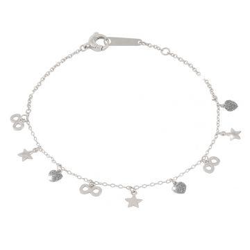 Bracciale Jolie in argento con 3 elementi rivestiti di polvere di diamanti