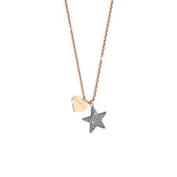 Collana Jolie in argento con stella grande rivestita di polvere di diamanti