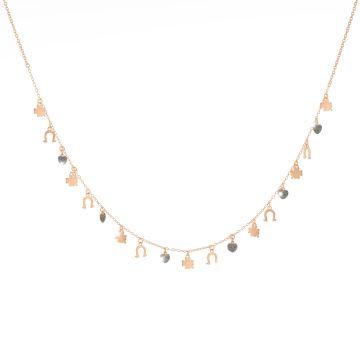 Collana Jolie in argento con 3 elementi rivestiti di polvere di diamanti