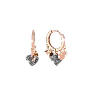 Orecchini Jolie a cerchio con 3 elementi rivestiti di polvere di diamanti