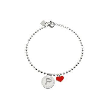 Bracciale in argento con pendente lettera A incisa e cuore rosso