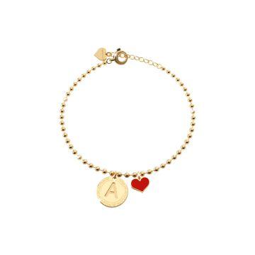 Bracciale in argento con pendente lettera B incisa e cuore rosso
