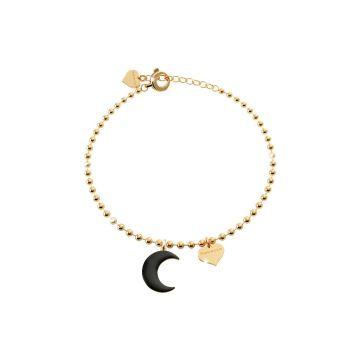 Bracciale a sfere in argento con luna smaltata