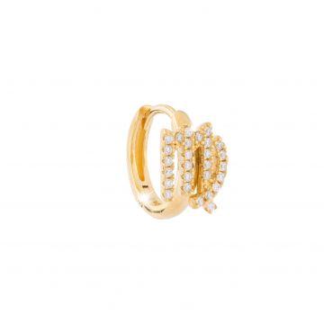 Mono orecchino in argento placcato oro giallo con segno zodiacale Vergine