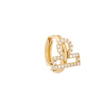 Mono orecchino in argento placcato oro giallo con segno zodiacale Bilancia