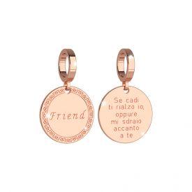 Amicizia. Piastrina in bronzo incisa