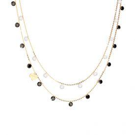 Collana Lucciole a doppio filo in argento 925 con cuore e pietre lunga 42 cm