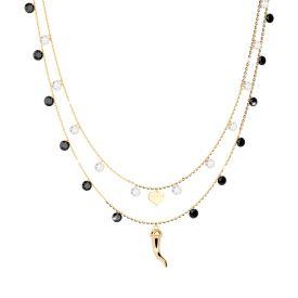 Girocollo doppio filo in argento e pietre con cornino portafortuna e cuore