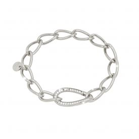 Bracciale in argento con maglie piccole e chiusura con pietre